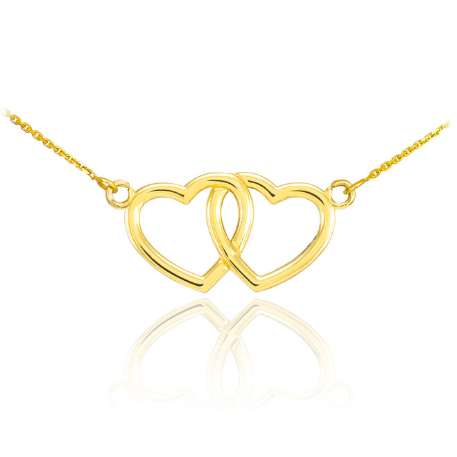 14K Gold Double Heart Necklace