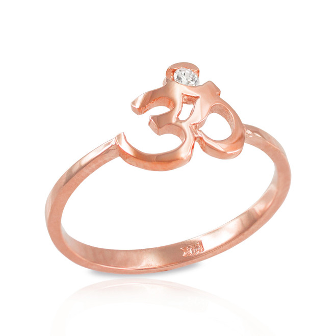 Dainty Rose Gold Om (aum) Diamond Ring