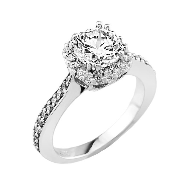 White Gold CZ Solitaire Engagement Ring