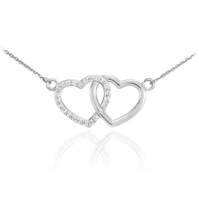 14K White Gold Double Heart Diamond Necklace