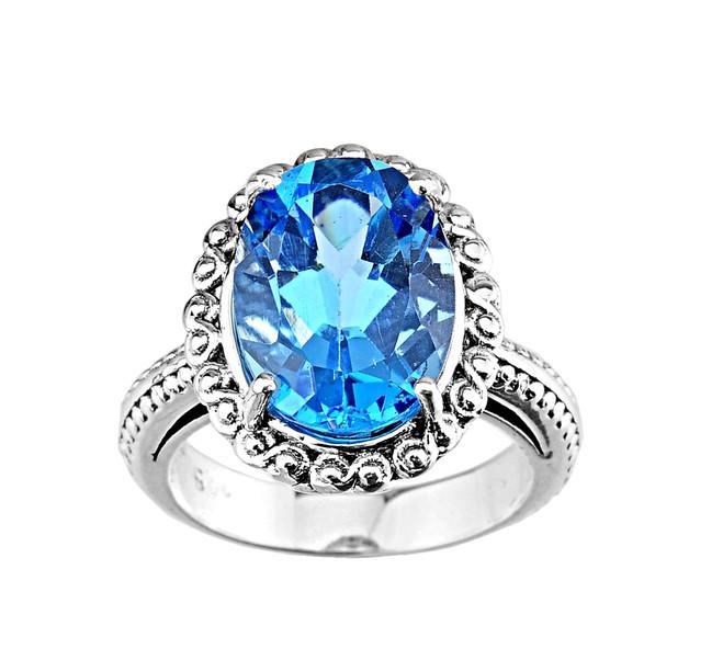 Strling Silver (LC) Blue Topaz Ladies Ring