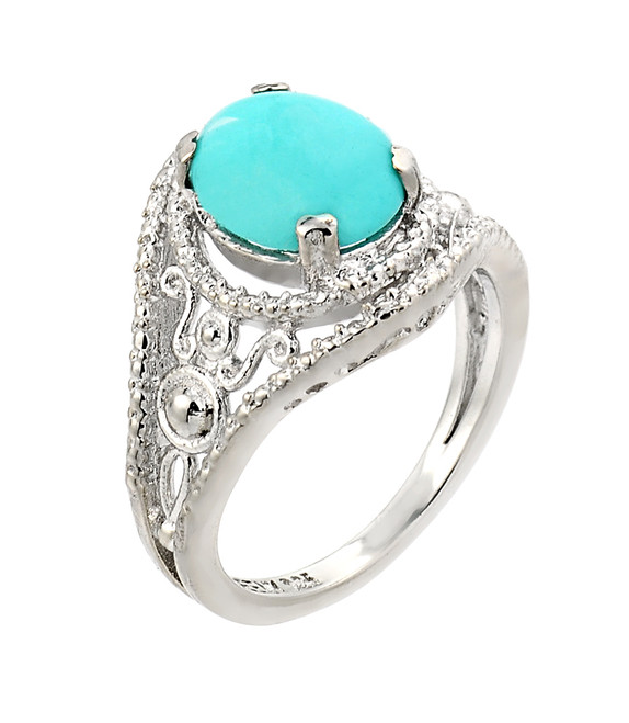 Sterling Silver Ladies Turquoise Gemstone Ring