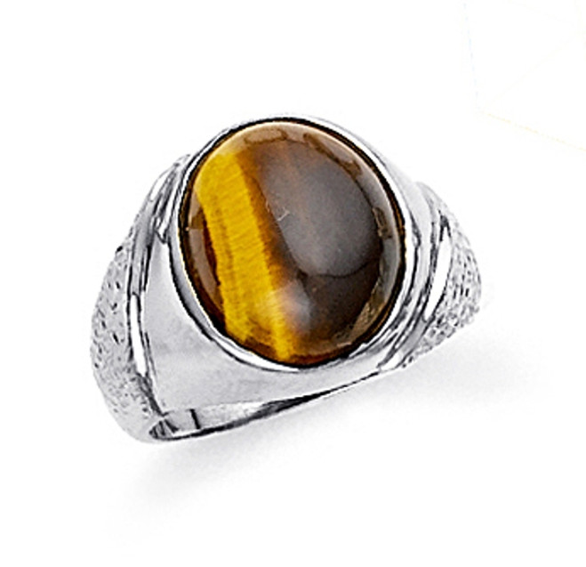 Tiger Eye Sterling Silver Men's Ring