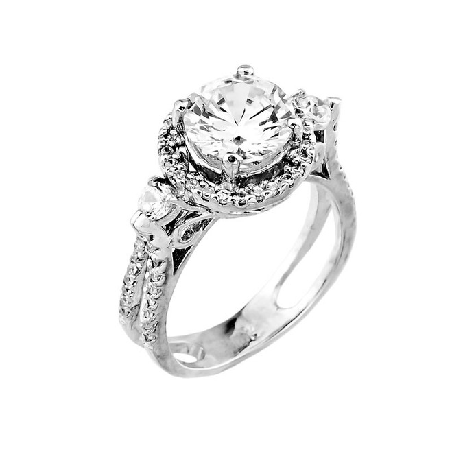 White Gold Classic Round CZ Engagement Ring