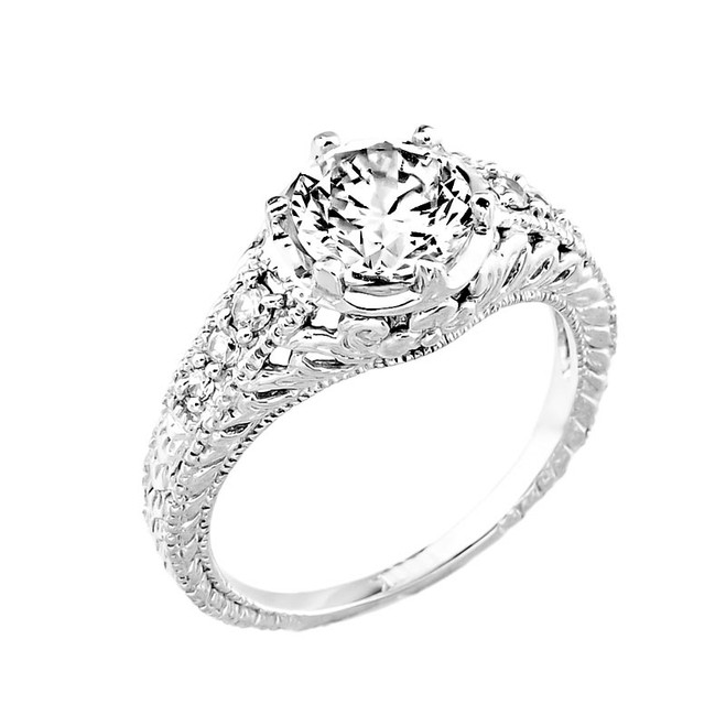 14k Gold Round CZ Engagement Ring