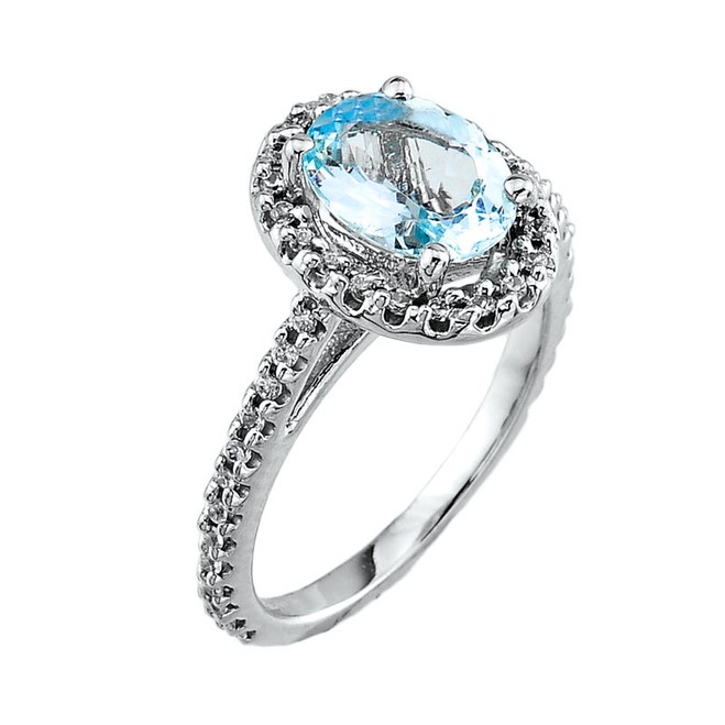 14k White Gold Light Blue Aquamarine Ring