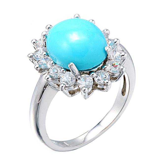 White Gold Blue Turquoise Gemstone Ring
