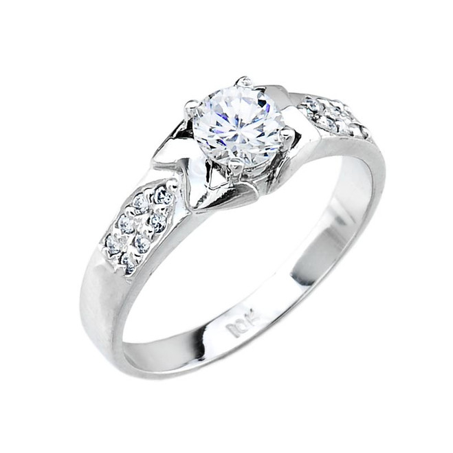 Ladies Micro Pave Cubic Zirconia Engagement Ring