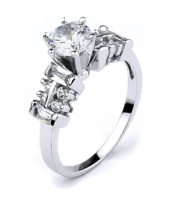 White Gold C. Z. Solitaire Engagement Ring