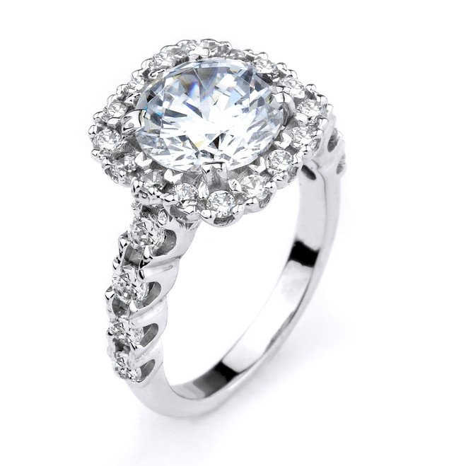 14k White Gold CZ Engagement Halo Ring
