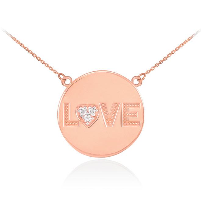 "14K Rose Gold ""LOVE"" Script Diamond Disc Necklace"