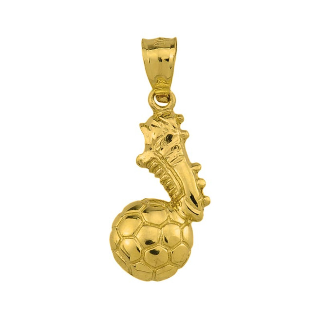 Yellow Gold Soccer Ball With Shoe Charm