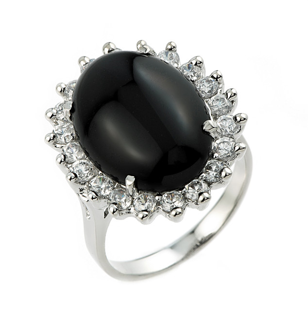 Sterling Silver Ladies Black Onyx Ring