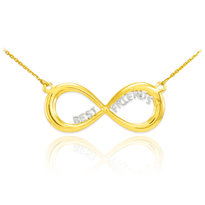 "14K Two-Tone Gold ""BEST FRIENDS"" Infinity Necklace"