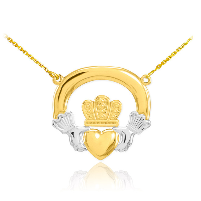 14K Two-Tone Gold Classic Claddagh Necklace
