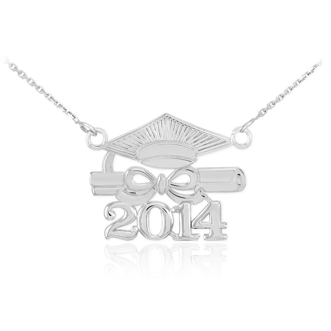 "Sterling Silver ""CLASS OF 2014"" Graduation Pendant Necklace"