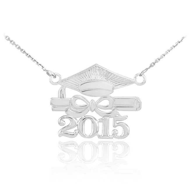 "14K White Gold ""CLASS OF 2015"" Graduation Pendant Necklace"
