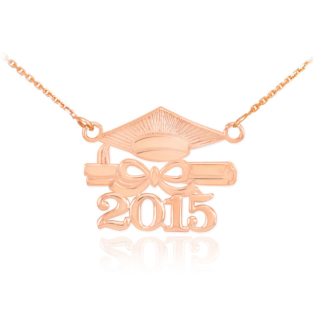 "14K Rose Gold ""CLASS OF 2015"" Graduation Pendant Necklace"