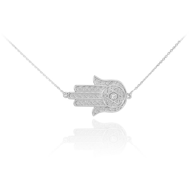 Sterling Silver Sideways Hamsa CZ Necklace