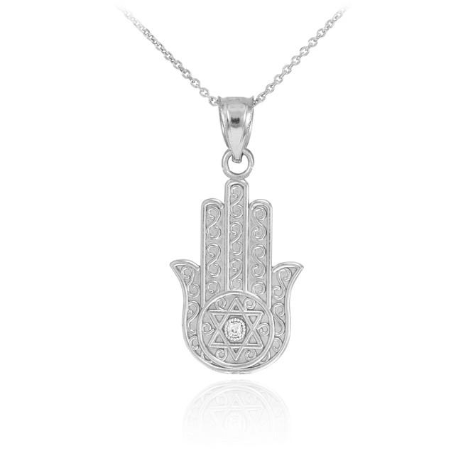 White Gold Hamsa Diamond Pendant Necklace