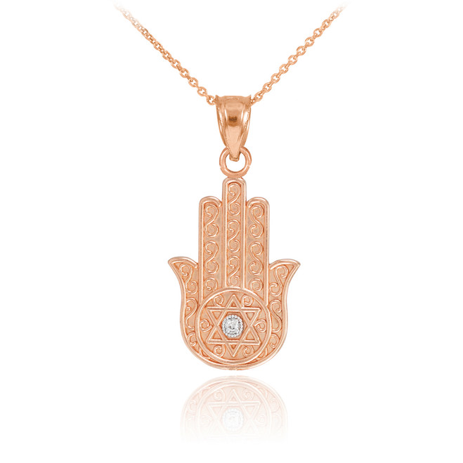 Rose Gold Hamsa Diamond Pendant Necklace