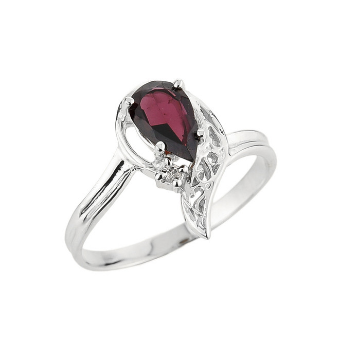 10k White Gold Ladies Pear Shaped Garnet Gemstone Ring