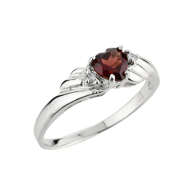 10k White Gold Ladies Garnet and Diamond Gemstone Ring