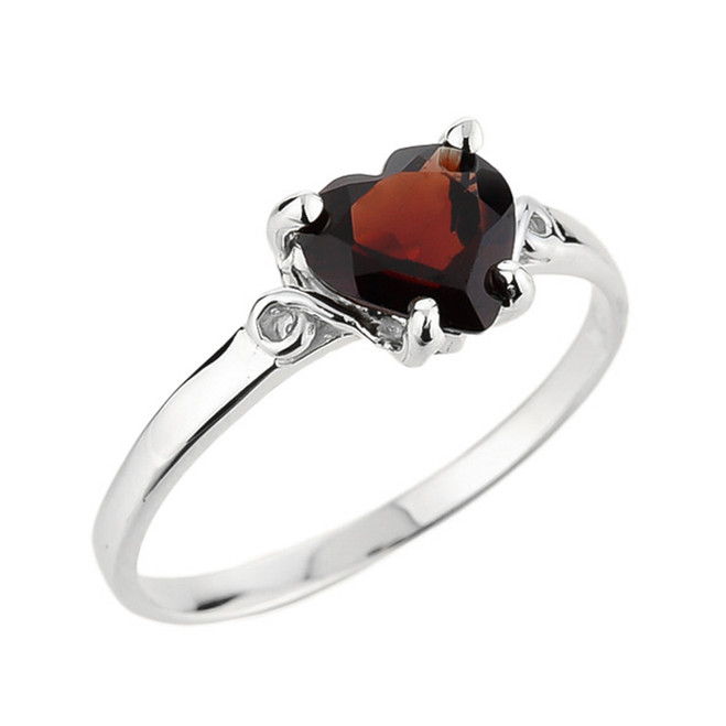 White Gold Ladies Heart Shaped Garnet Ring