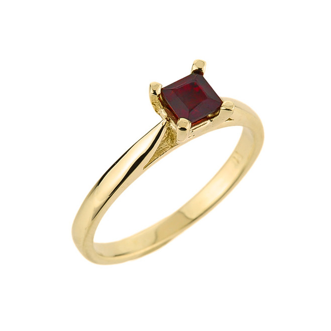 10k Gold Ladies Princess Cut Garnet Ring