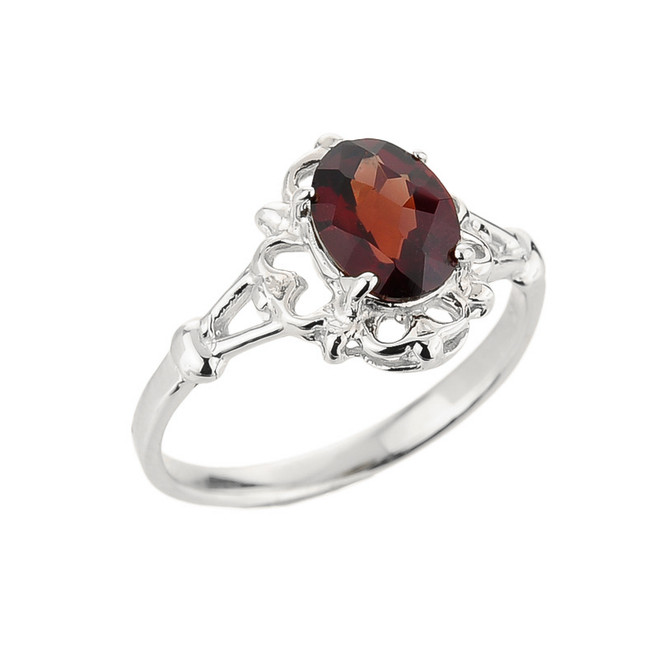 White Gold Ladies Oval Shaped Garnet Gemstone Ring