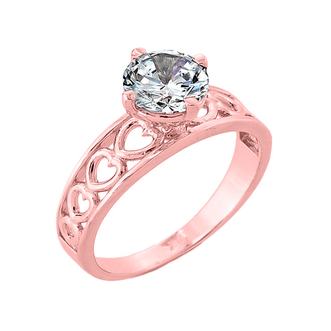 Rose Gold Cubic Zirconia Engagement Ring