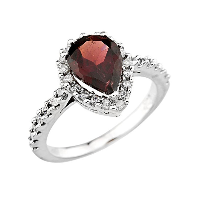 14K Gold Ladies Garnet Gemstone ring