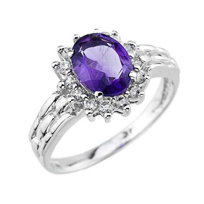 Gold  Amethyst Gemstone Ring