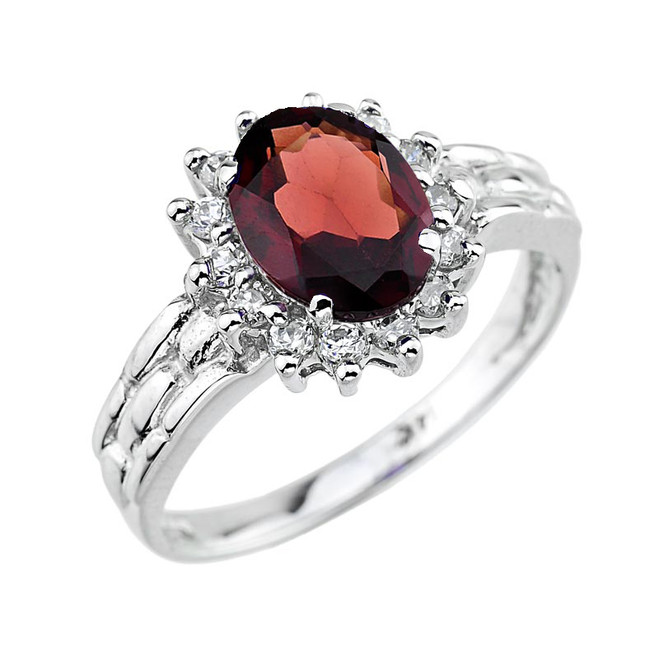 White Gold Oval Shaped Garnet Gemstone Ring