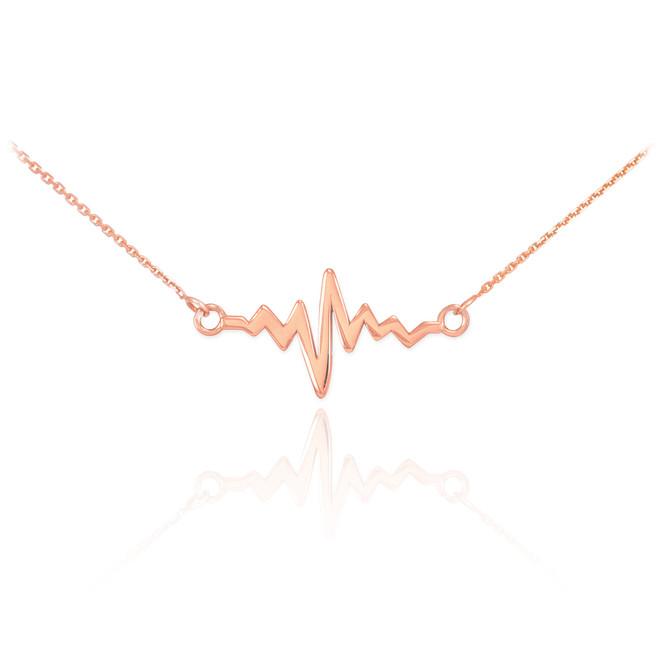 14K Rose Gold Heartbeat Necklace