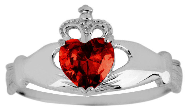 Silver Birthstone Claddagh Ring Garnet