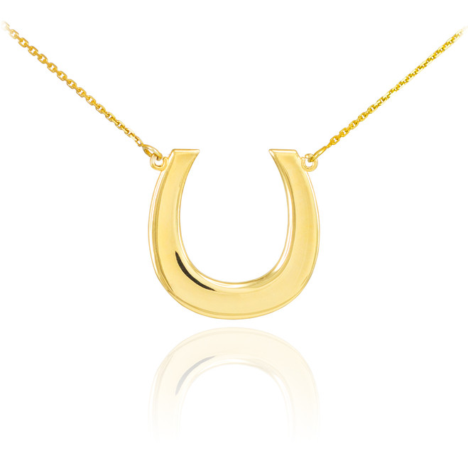 14K Polished Gold Lucky Horseshoe Necklace