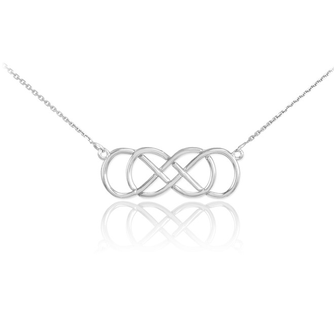 14K White Gold Double Knot Infinity Necklace