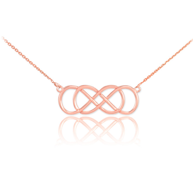 14K Rose Gold Double Knot Infinity Necklace