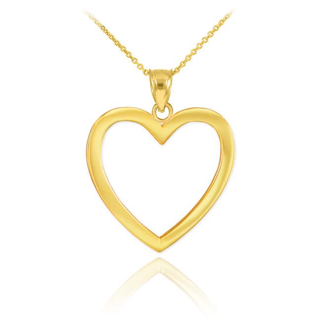 Polished Gold Open Heart Pendant Necklace