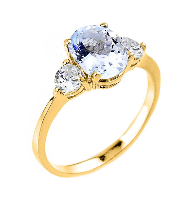 Gold Aquamarine Gemstone Ring