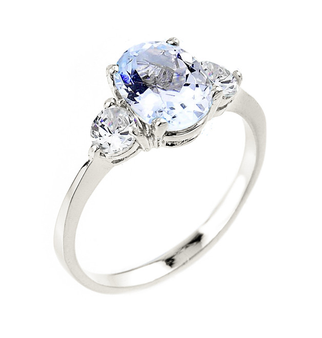 White Gold Aquamarine Gemstone Ring