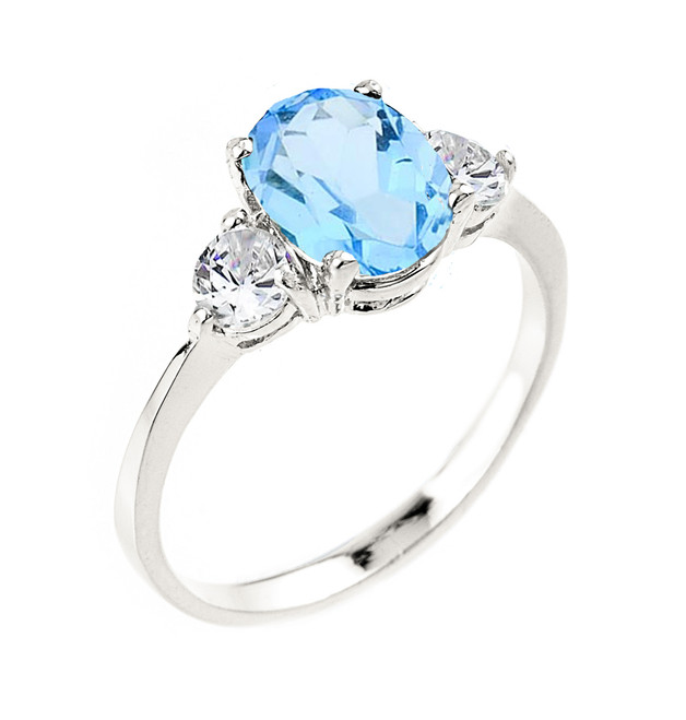 White Gold Ladies Blue Topaz Gemstone Ring