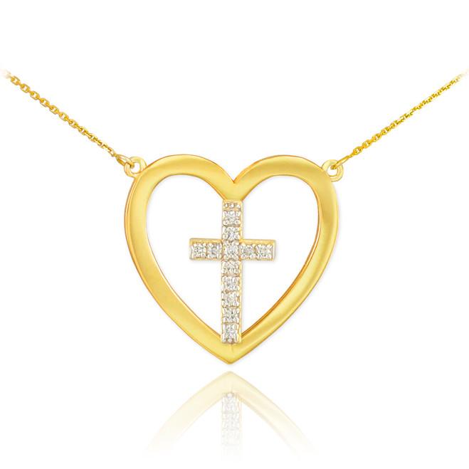 14K Gold Open Heart Diamond Cross Necklace