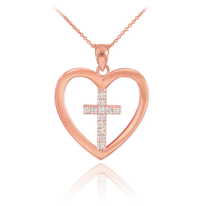 Rose Gold Open Heart Diamond Cross Pendant Necklace