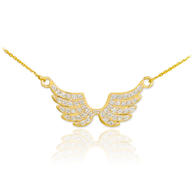 14K Diamond Pave Studded Gold Wings Necklace (0.50ctw)