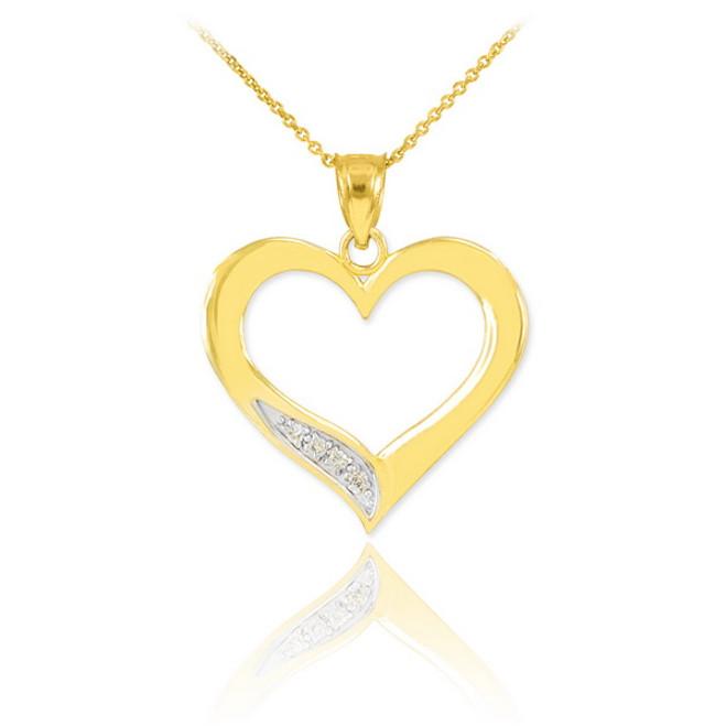 Yellow Gold Open Heart Diamond Pendant Necklace