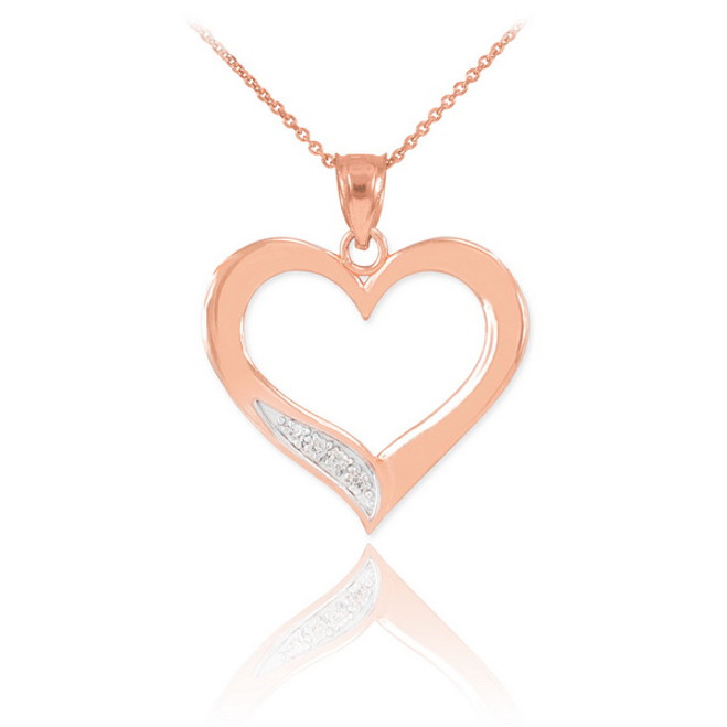 Rose Gold Open Heart Diamond Pendant Necklace