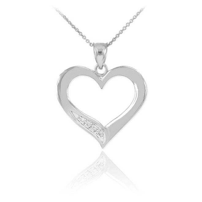 Sterling Silver Open Heart CZ Pendant Necklace