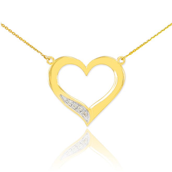 14K Gold Open Heart Diamond Necklace